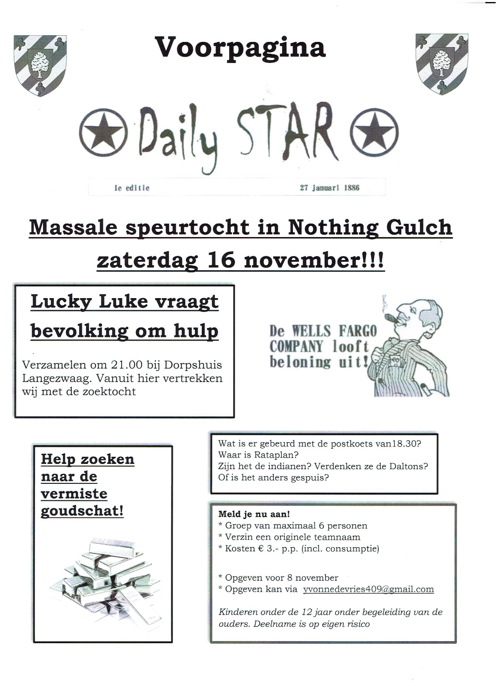 Massale Speurtocht In Nothing Gulch Zaterdag 16 November